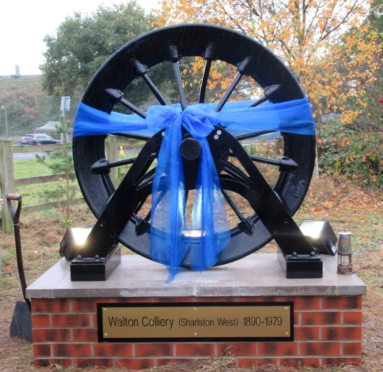 The new pit winding wheel ready to be unveiled at Walton Colliery Nature Reserve